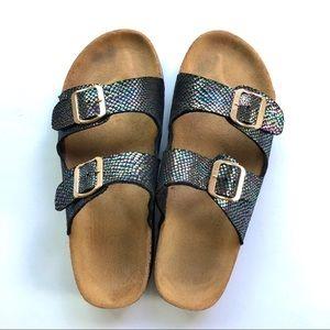 Black Mermaid footbed two strap sandals